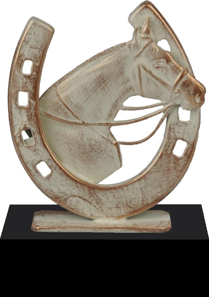 Luxe trofee paard met hoefijzer 18,5cm WBEL 743B