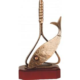 Luxe trofee vis in visnet / visser 26,5cm WBEL 191B