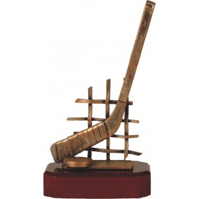 Luxe trofee hockey / hockeystick met puck en net 25,5cm WBEL 227B